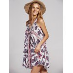 cheap Bohemian V-Neck Lace Up Printed Dress For Women