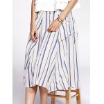 cheap Bohemian Striped Pockets Single-Breasted Shirt Skirt For Women