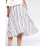 Bohemian Striped Pockets Single-Breasted Shirt Skirt For Women for sale