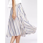Bohemian Striped Pockets Single-Breasted Shirt Skirt For Women deal