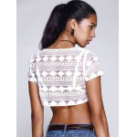 Chic Women's Lace See-Through Short Sleeve Crop Top for sale