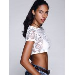 Chic Women's Lace See-Through Short Sleeve Crop Top deal