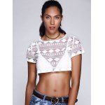 cheap Chic Women's Lace See-Through Short Sleeve Crop Top