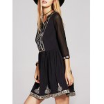 Ethnic Style 3/4 Sleeve Sequins Beaded Embroidery Dress For Women