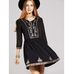 cheap Ethnic Style 3/4 Sleeve Sequins Beaded Embroidery Dress For Women