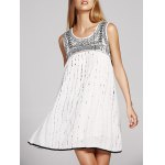 Stylish Round Neck Cutout Embroidery Beaded Dress For Women