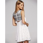 Stylish Round Neck Cutout Embroidery Beaded Dress For Women deal
