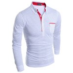 cheap British Style Turn-dwon Collar One Pocket Polka Dot Print Long Sleeves Polyester Polo Shirt For Men