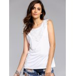 Fashion Round Neck Lace Spliced Tank Top For Women deal