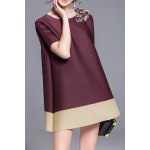 A-Line Appliqued Bicolor Dress deal