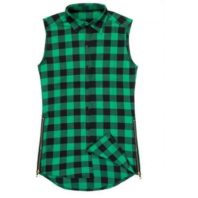 Fashion Zipper Design Checked Waistcoat For Men