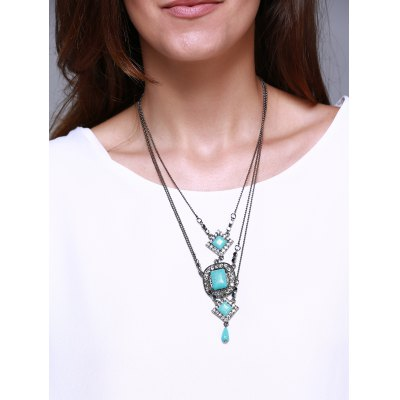 Faux Turquoise Rhombus Oval Multilayered Necklace