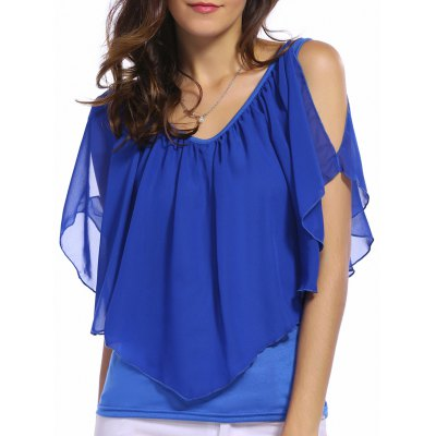 V Neck Cold Shoulder Overlay Chiffon Blouse