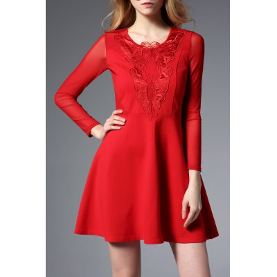 Butterfly Embroidery Zippered Dress