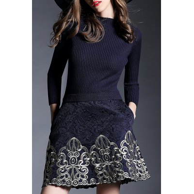 Three Quarter Sleeve Jacquard Dress