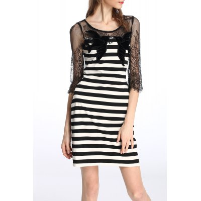 Lace Splicing Striped Dress