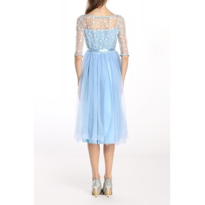 Sheer Floral Embroidered Tulle Splicing DressDesigner Dresses<br>Sheer Floral Embroidered Tulle Splicing Dress<br><br>Style: Cute<br>Occasion: Casual,Cocktail &amp; Party,Day,Work<br>Material: Polyester<br>Composition: 100% Polyester<br>Silhouette: A-Line<br>Dresses Length: Mid-Calf<br>Neckline: Round Collar<br>Sleeve Length: Half Sleeves<br>Waist: Empire<br>Pattern Type: Floral<br>With Belt: Yes<br>Season: Summer<br>Weight: 0.420kg<br>Package Contents: 1 x Dress  1 x Belt