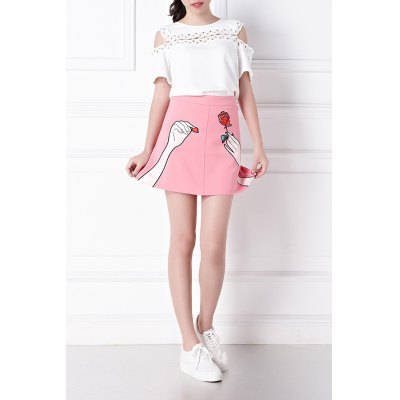 Cold Shoulder T-Shirt and Embroidery Skirt Twinset