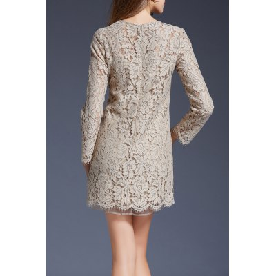 Mini Lace Long Sleeve DressDesigner Dresses<br>Mini Lace Long Sleeve Dress<br><br>Occasion: Casual<br>Material: Cotton,Nylon,Polyester,Viscose<br>Composition: Outer Composition:35.3% Cotton,34.1% Nylon,30.6% Viscose&lt;br&gt;Lining Composition:100% Polyester<br>Dresses Length: Mini<br>Neckline: Round Collar<br>Sleeve Length: Long Sleeves<br>Embellishment: Hollow Out<br>Pattern Type: Solid<br>With Belt: No<br>Season: Fall,Spring<br>Weight: 0.350kg<br>Package Contents: 1 x Dress
