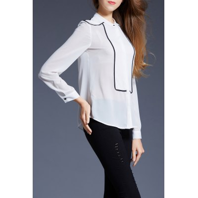 Fitted Button Up Chiffon ShirtDesigner Tops<br>Fitted Button Up Chiffon Shirt<br><br>Material: Polyester<br>Fabric Type: Chiffon<br>Composition: 100% Polyester<br>Clothing Length: Regular<br>Sleeve Length: Full<br>Collar: Stand-Up Collar<br>Pattern Type: Solid<br>Style: Casual<br>Seasons: Spring,Summer<br>Weight: 0.330kg<br>Package Contents: 1 x Shirt
