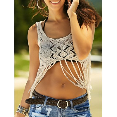 Stylish Scoop Neck Crochet Crop Top For Women