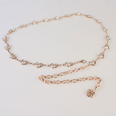 Rhinestone Sweet Double Hearts Hang Low Waist Chain Belt For Women
