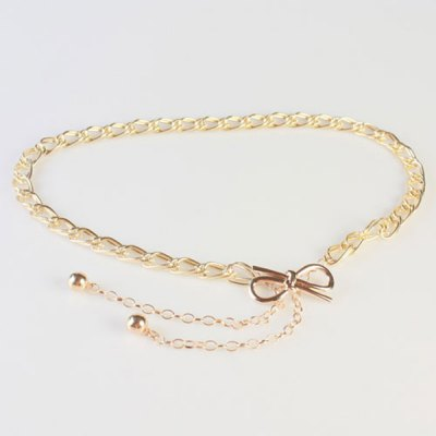 Simple Golden Knotted Bow Double Waist Chains Belt For Women