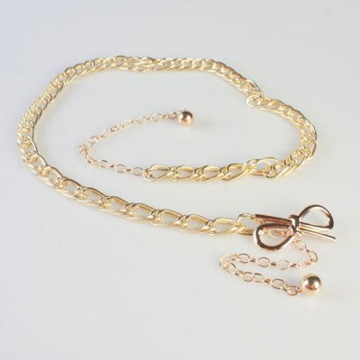 Chic Simple Golden Knotted Bow Double Waist Chains Belt For Women