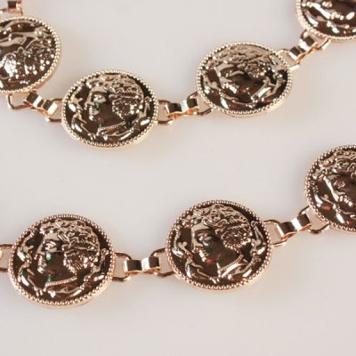 Chic Simple Head Portraits Cameo Rounded Coin Waist Chain Belt For Women