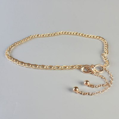 Simple Golden Small Bow Double Waist Chains Belt For Women