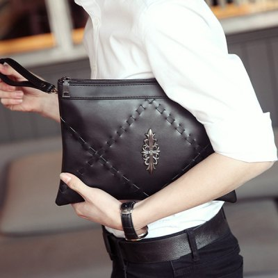 Casual Black Color and Weaving Design Clutch Bag For Men