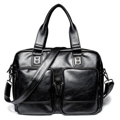 Casual Black Color and Zip Design Briefcase For Men