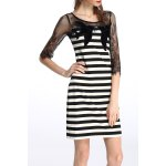cheap Lace Splicing Striped Dress