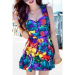 Fashionable Criss-Cross Floral Print Two-Piece Women's Swimsuit