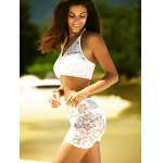Halter Neck See Through Women's Lace Swimsuit deal