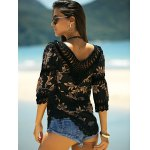 Stylish V-Neck Printed Crochet Top For Women for sale