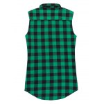 cheap Fashion Zipper Design Checked Waistcoat For Men