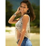 Stylish Scoop Neck Crochet Crop Top For Women deal