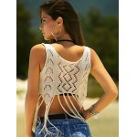 Stylish Scoop Neck Crochet Crop Top For Women for sale