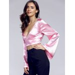 Chic Plunging Neck Bell Sleeve Bowknot Women's Crop Top deal