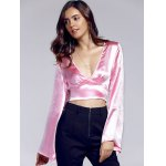 cheap Chic Plunging Neck Bell Sleeve Bowknot Women's Crop Top