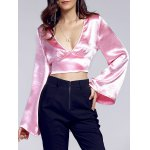 Chic Plunging Neck Bell Sleeve Bowknot Women's Crop Top