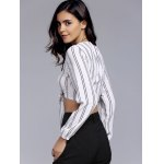 Charming Self Tie Bowknot Vertical Striped Women's Crop Top for sale