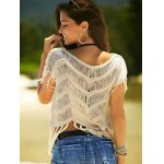 Stylish Scoop Neck Crochet Top For Women for sale