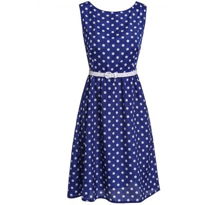 Attractive Polka Dot Printed Sleeveless Ball Gown Dress For Women