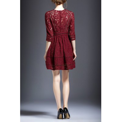 Hollow Out Lace Flared Dress