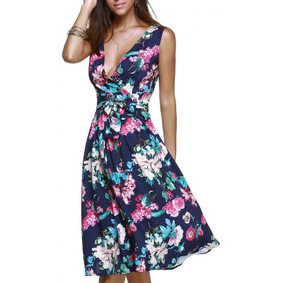 Surplice Bowknot Belted Floral Dress