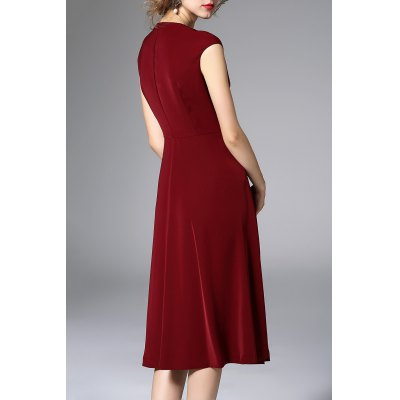 Pearls Belted Solid Color DressDesigner Dresses<br>Pearls Belted Solid Color Dress<br><br>Style: A Line<br>Occasion: Work<br>Material: Cotton,Polyester<br>Composition: 70%Polyester,30%Cotton<br>Dresses Length: Mid-Calf<br>Neckline: V-Neck<br>Sleeve Length: Sleeveless<br>Pattern Type: Solid<br>With Belt: No<br>Season: Summer<br>Weight: 0.320kg<br>Package Contents: 1 x Dress