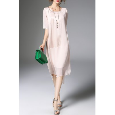 Solid Color High-Low Dress