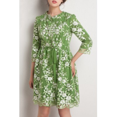 Floral Embroidered A LineDress
